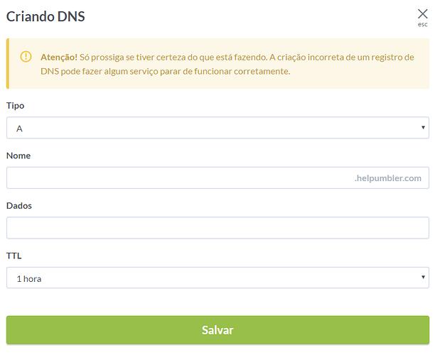 Alterando registro de DNS